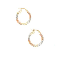 14K TRI-GOLD WOVEN HOOPS
