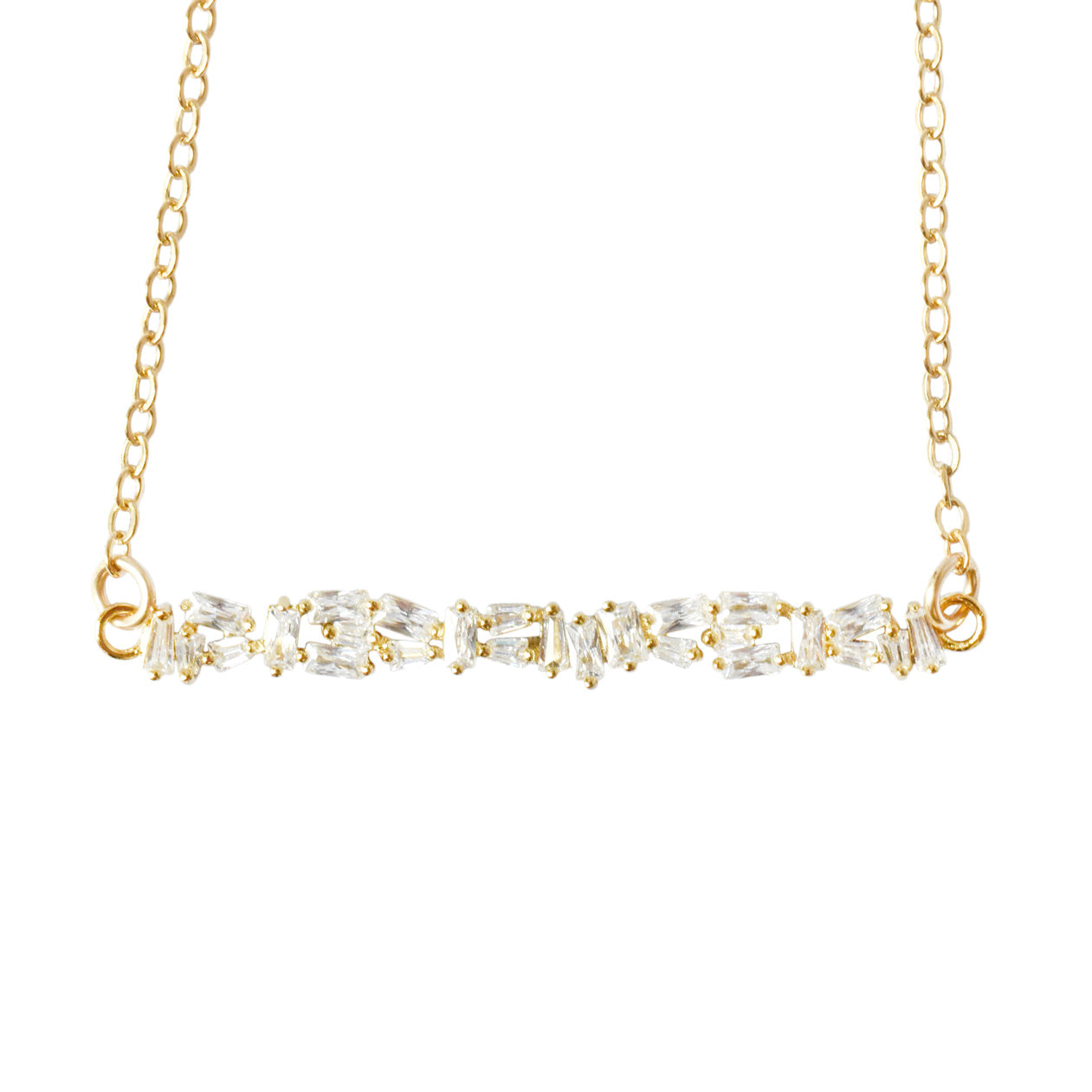 ALTA CRYSTAL BAGUETTE BAR NECKLACE