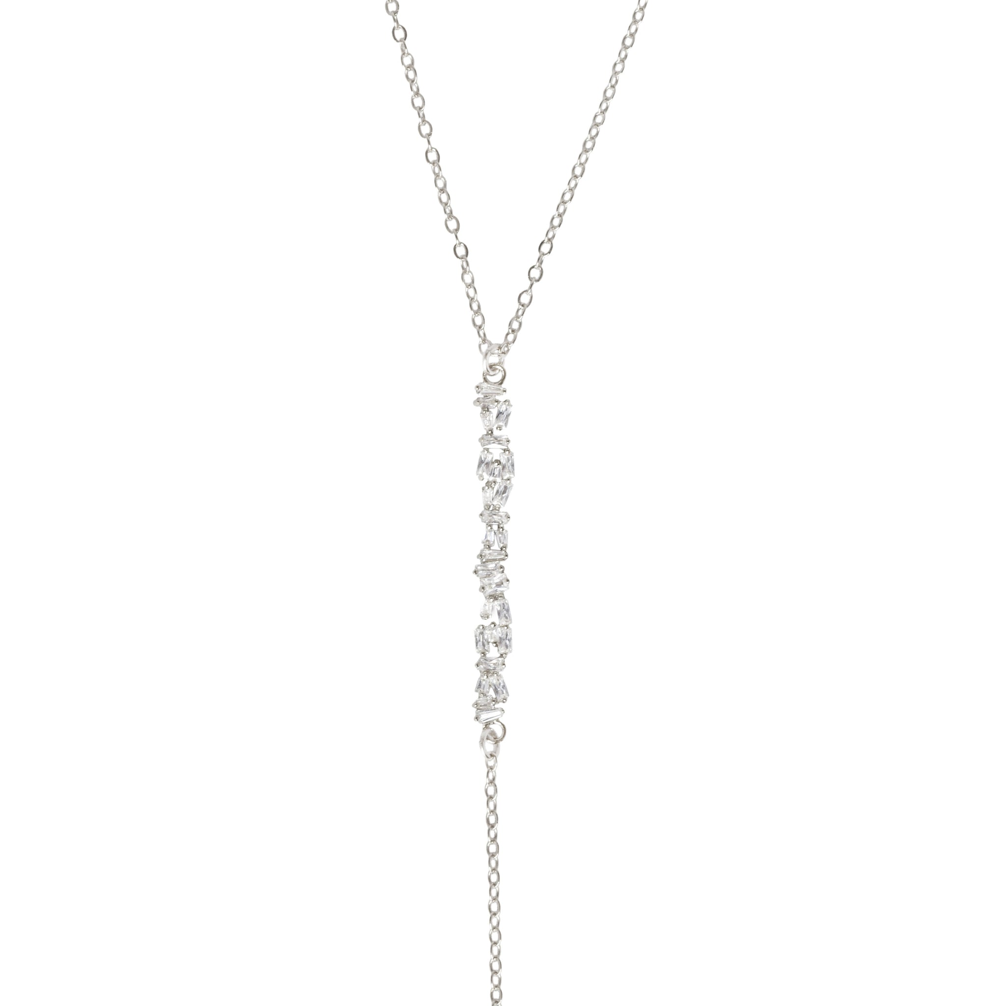 ALTA CRYSTAL BAGUETTE BAR LARIAT NECKLACE