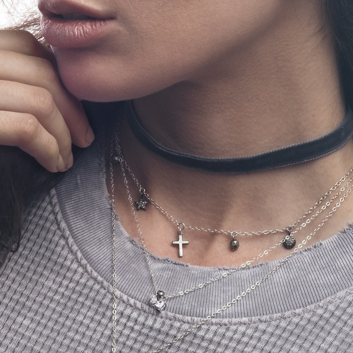 BAILIN SILVER CHARM CHOKER NECKLACE