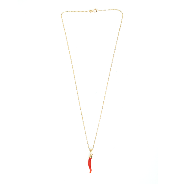 CORAL CORNICELLO ON 10K GOLD CHAIN