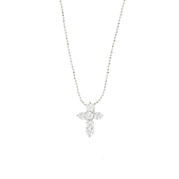 CRYSTAL CROSS NECKLACE ON BEAD CHAIN