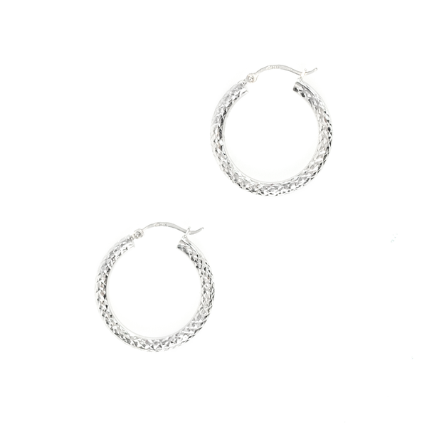 14K WHITE GOLD DIAMOND CUT HOOPS