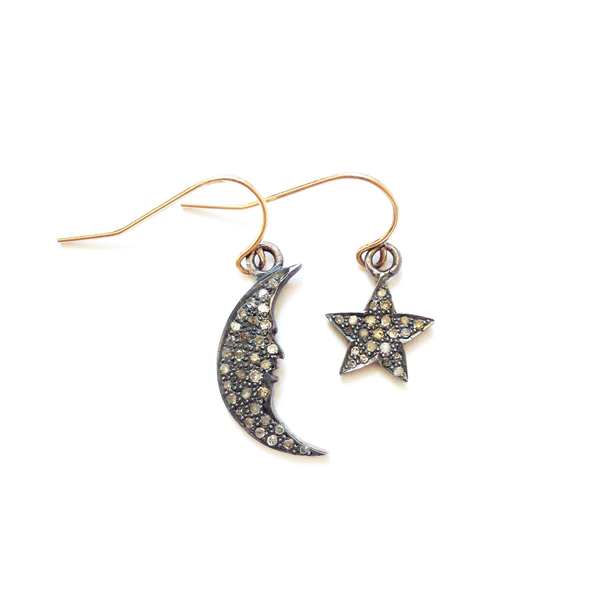 COSTELLA PAVÉ DIAMOND STAR + MOON EARRINGS