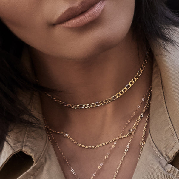 GOLD AND SILVER FIGARO-CHAIN CHOKER