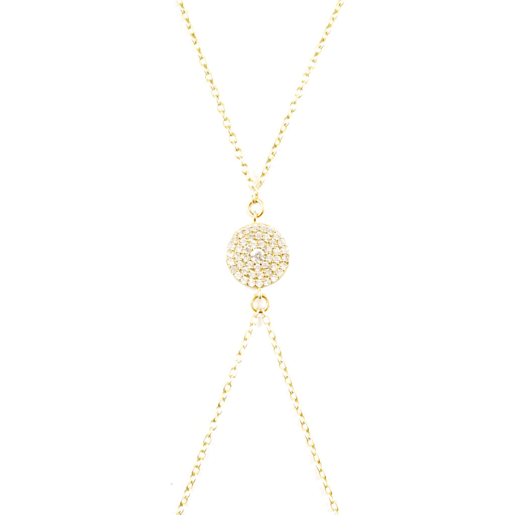 NICHELLE CRYSTAL PAVÉ DISC BODY CHAIN