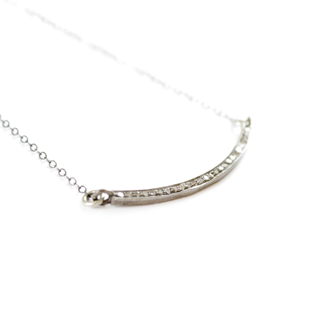 SESSILEE PAVÉ DIAMOND BAR NECKLACE