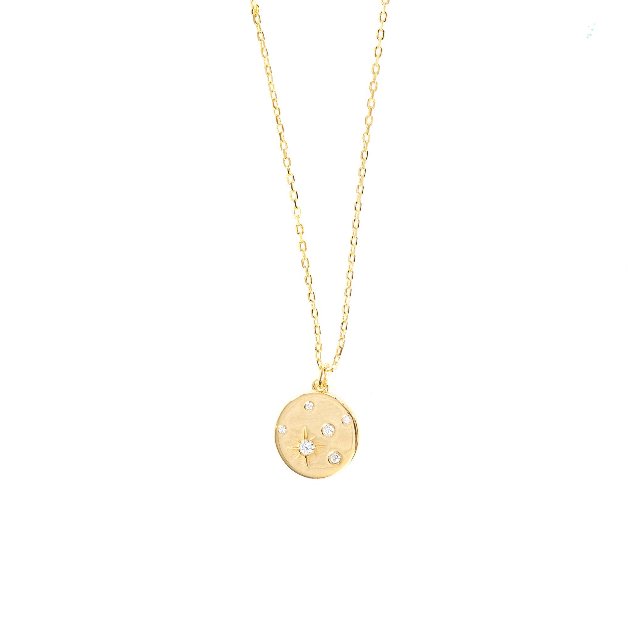 STARBURST DISC PENDANT NECKLACE IN GOLD