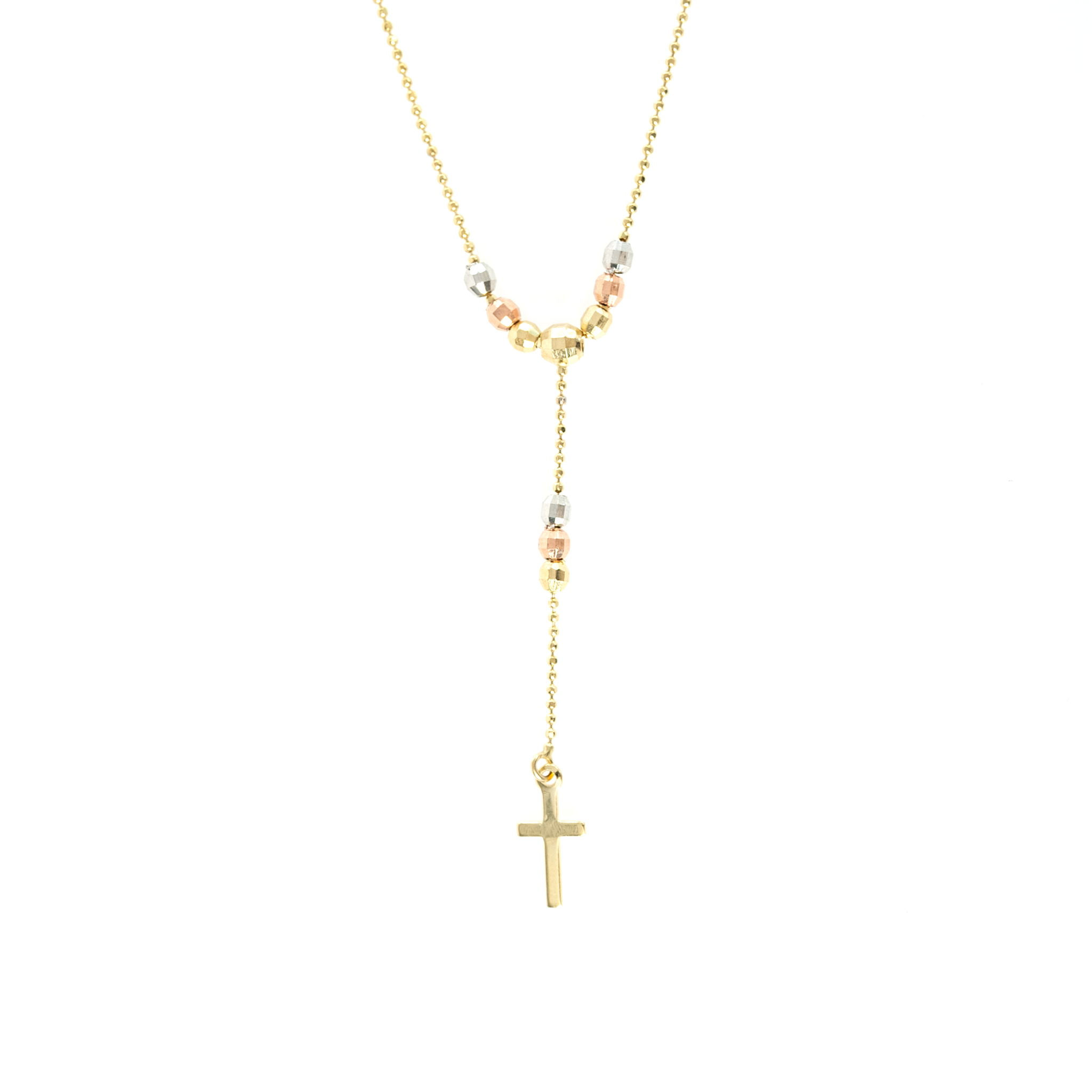 14K TRI-GOLD BEAD CROSS LARIAT