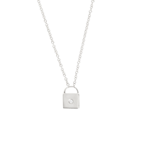 WHITE GOLD LOCK PENDANT NECKLACE