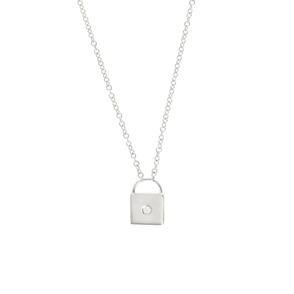 10K WHITE GOLD LOCK PENDANT NECKLACE