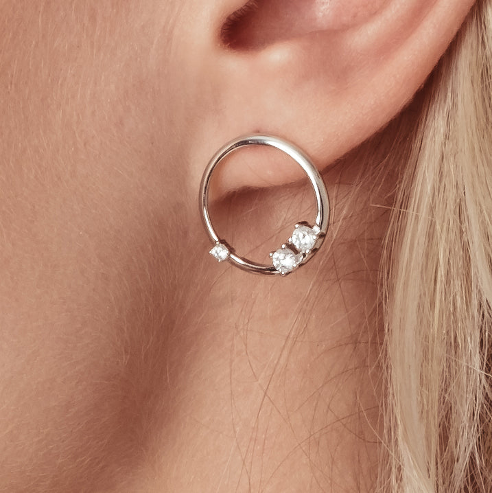 FLOATING CRYSTAL CIRCLE STUDS IN SILVER