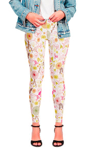 Chelsea Flower Leggings cream with multi-color floral design.