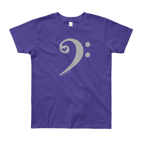 Jazz Remedy Bass Clef T-shirt for ages 8-12. Made in the USA. Color options.