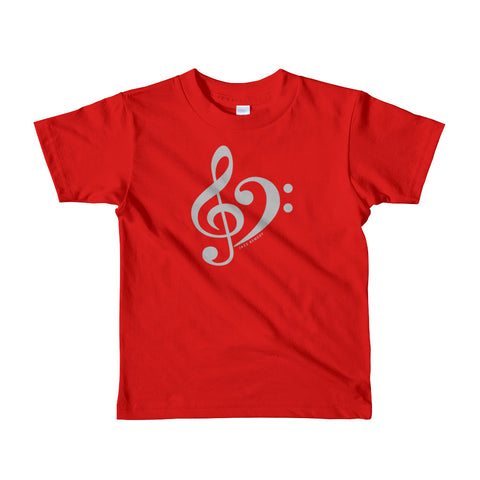 Jazz Remedy Treble & Bass Clef T-Shirt for ages 2-6. Made in the USA. Color options.