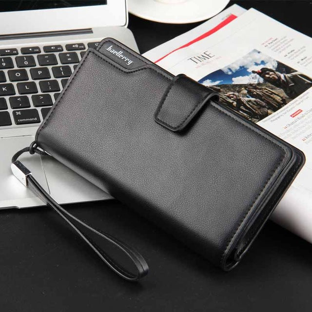 Long Black Leather Wallet
