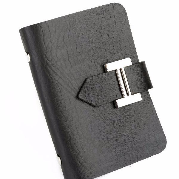 Black Leather Buckled Card Holder