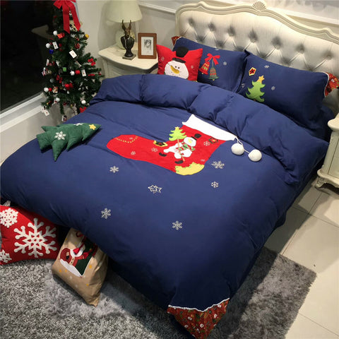 Egyptian Cotton Luxury Blue Christmas  Bedding Set 500TC