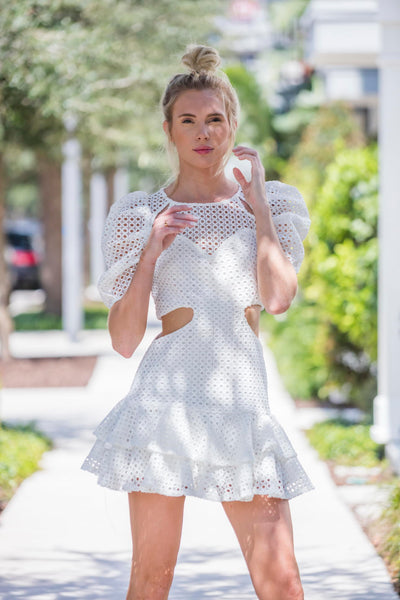 White Puff Sleeve Mini Dress FINAL SALE - Zuly Boutique Orlando Florida