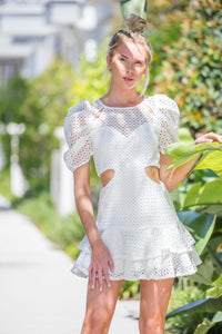 Cut Out Lace White Puff Sleeve Mini Dress