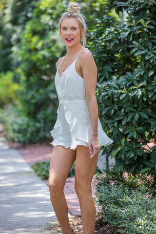 Ruffle Bottom White Romper