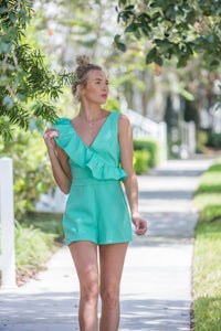 Ruffle Down Sea Foam Romper FINAL SALE - Zuly Boutique Orlando Florida