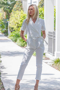Short Sleeve White Jumpsuit