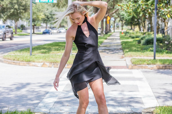DO+BE Black Asymmetric Dress - Zuly Boutique Orlando Florida