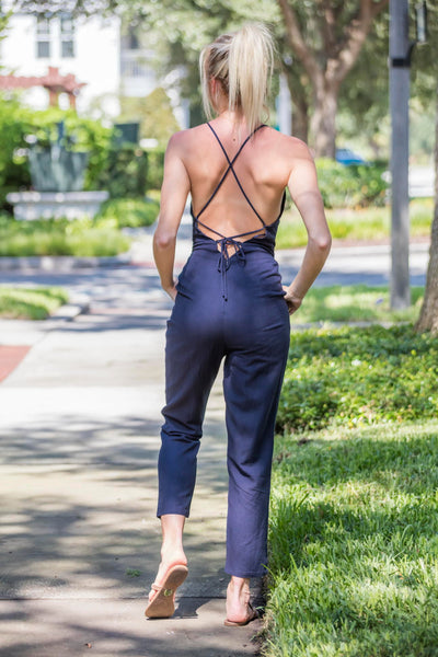 Navy Jumpsuit With Back Tie - Zuly Boutique Orlando Florida