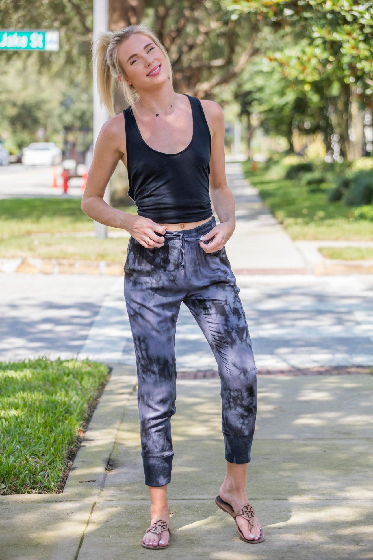Tie Dye Black Cotton Joggers - Zuly Boutique Orlando Florida