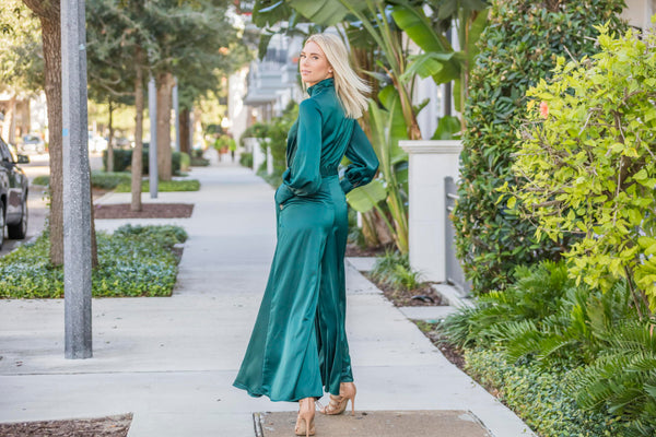 Blue Green Palazzo Jumpsuit Dress