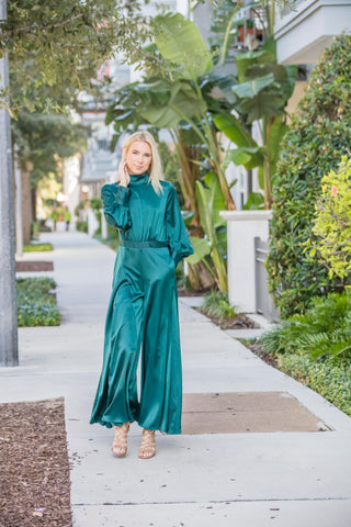Blue Green Palazzo Jumpsuit Dress - Zuly Boutique Orlando Florida