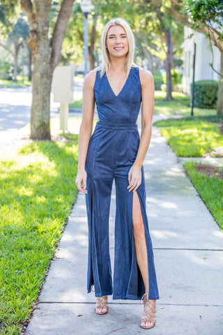 Suede Dusty Blue, Split Pants, Open Back Jumpsuit
