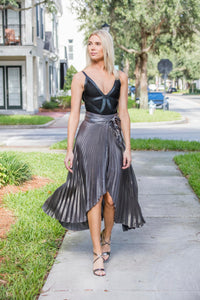 Silver Wrap Style Pleats Skirt