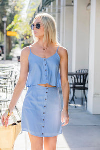 Ice Blue Button Down Skirt