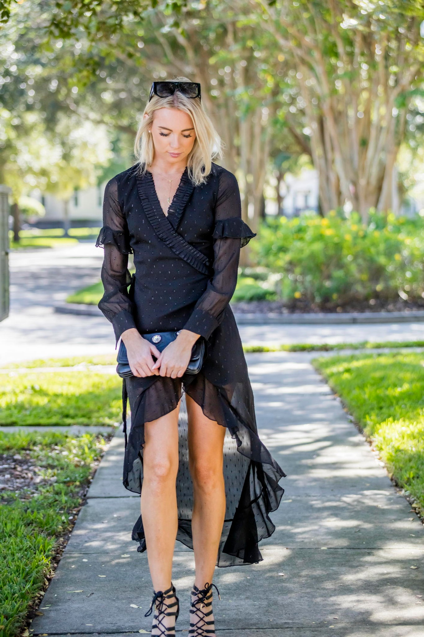 High-Low Black Ruffle Wrap Around Dress