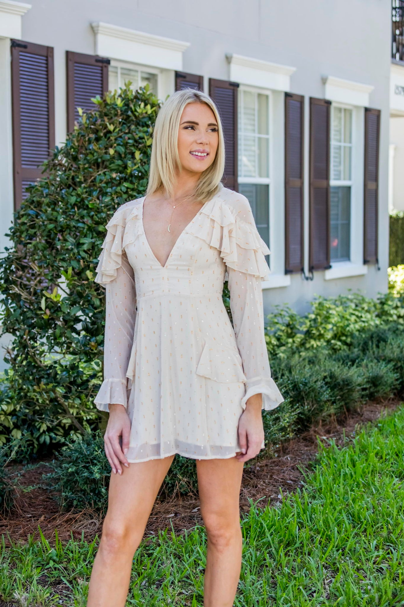 Ivory/ Metallic V-Neck Short Dress