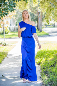 Royal Blue, One Shoulder,  Open Back Long Dress