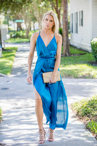 Teal Split Pant Open Back Jumpsuit