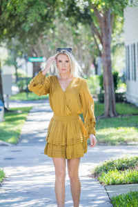 Mustard Layers Bottom, Long Sleeves Short Dress
