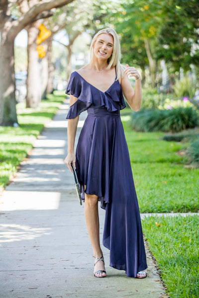 Midnight Blue  Asymmetric Dress
