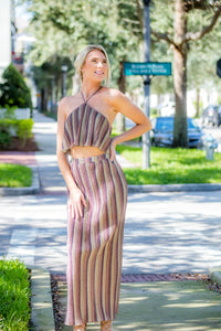 Two Piece Metallic Skirt Set FINAL SALE - Zuly Boutique Orlando Florida