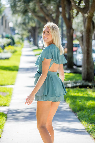 Dusty Sage, Open Back, Wrap Romper