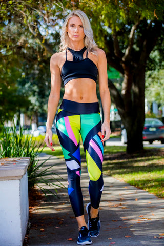 Women's Leggings black neon - Zuly Boutique Orlando Florida