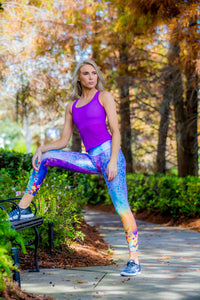 Women's Leggings purple flowers - Zuly Boutique Orlando Florida
