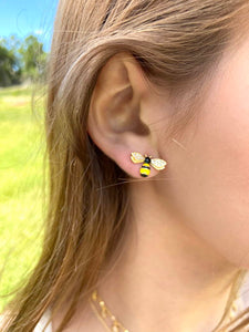 BEE AND PINK FLOWER EARRINGS - Zuly Boutique Orlando Florida