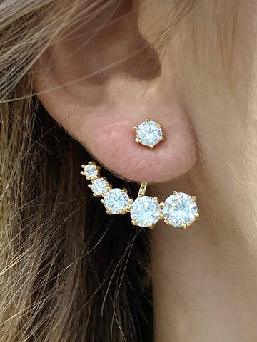 DIAMOND EARRINGS GOLD PLATED - Zuly Boutique Orlando Florida