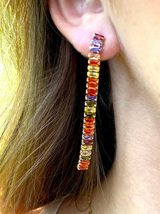 COLORED CRYSTAL EARRINGS GOLD PLATED - Zuly Boutique Orlando Florida