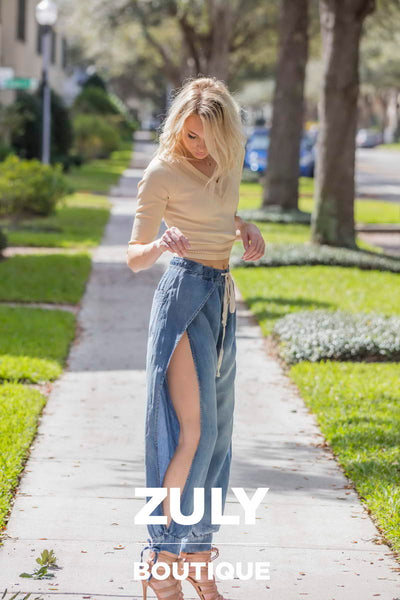 Chambray Open Side Slit Pants - Zuly Boutique Orlando Florida