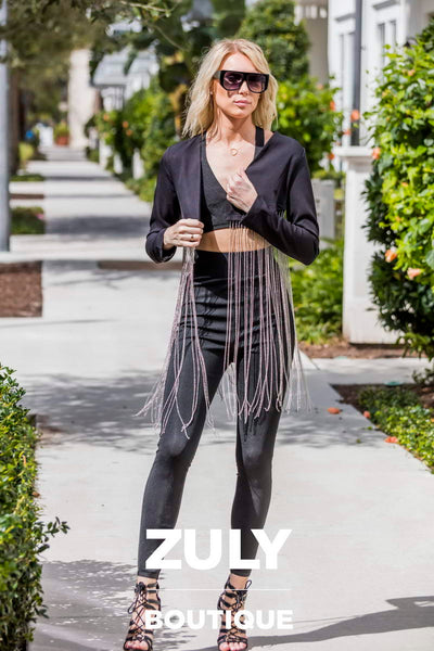 Silver Chain Black Blazer - Zuly Boutique Orlando Florida